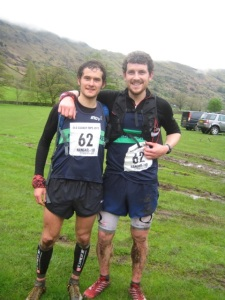 Ben (left) and Paul celebrate after winning the 2013 Old County Tops mountain race