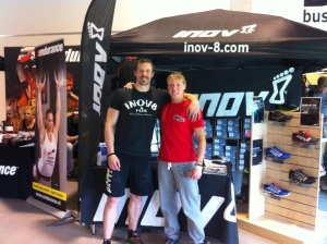 Nicola and team-mate Stuart Trees at the inov-8 stand at the European CrossFit Regionals