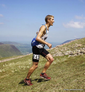 Oli, wearing x-talon 190s, powers up one of the gruelling ascents at Ennerdale