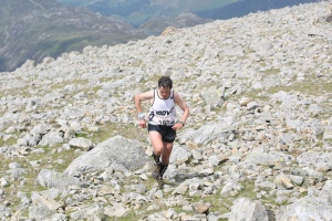 Ben, three-time Wasdale winner, on the punishing climb of Great Gable. Photo by Bryan Mills.