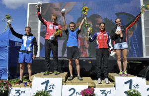 Graham Gristwood (centre) on the podium of the Scottish 6 Day orienteering event