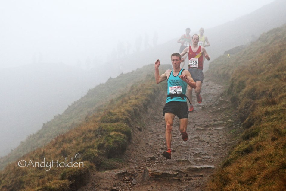 Tom Addison - wearing X-Talon 190 shoes - sets a fearless downhill pace on first descent at Pendle.