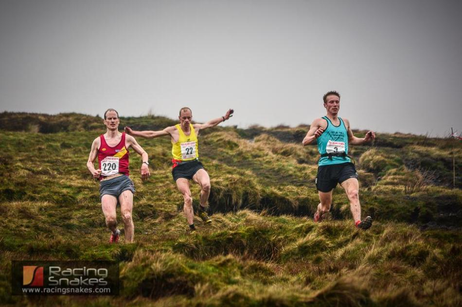 Tom Addison (right), Simon Bailey (centre) and Rob Hope (left) on the final descent at Pendle