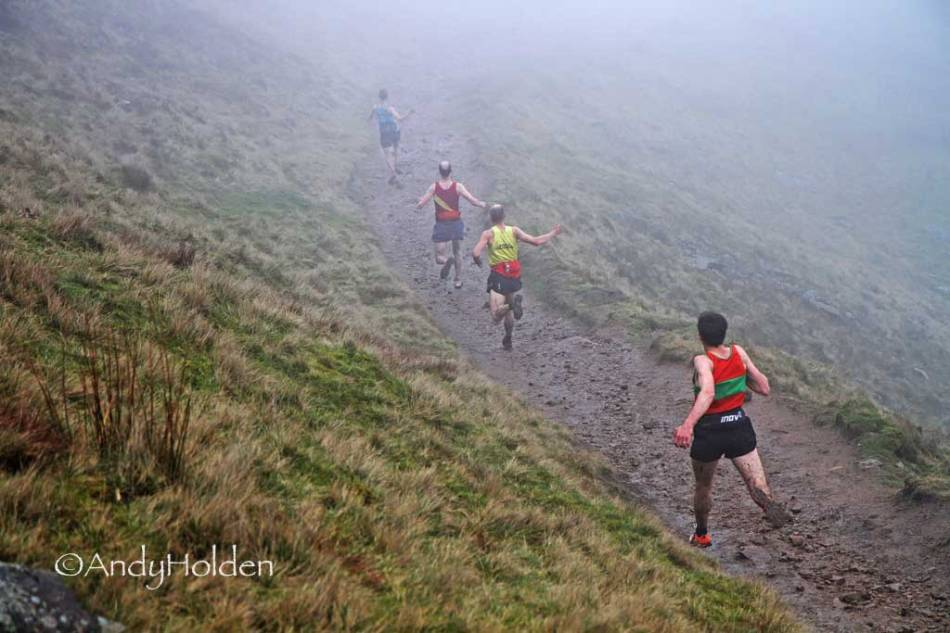 Tom Addison, Robe Hope, Simon Bailey and Tom Adams in the heat of battle at Pendle