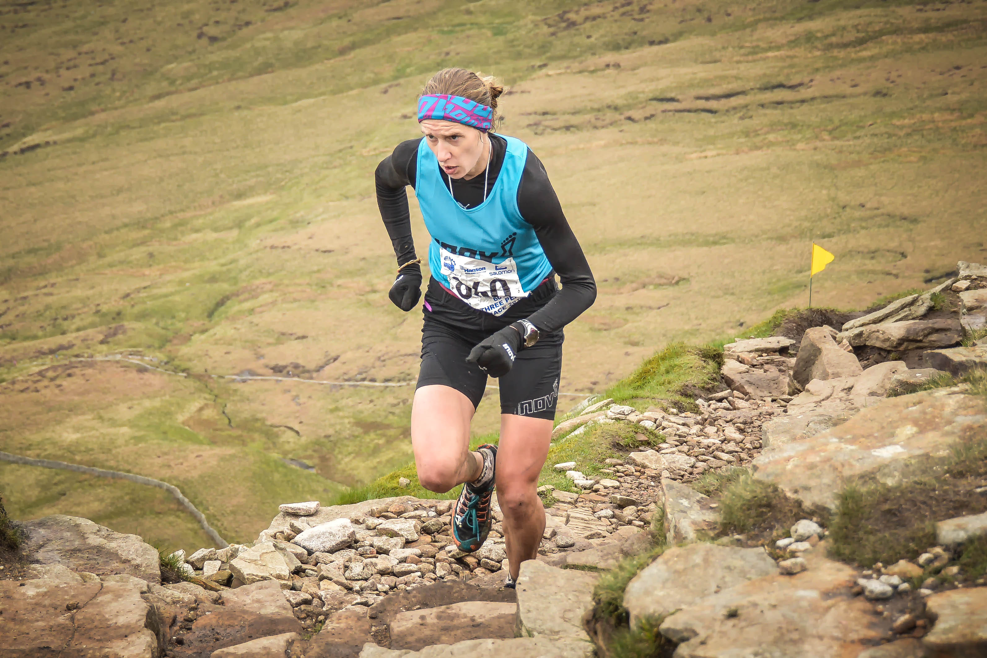 Victoria on her way to victory at the Three Peaks Race. Photo by www.racingsnakes.com